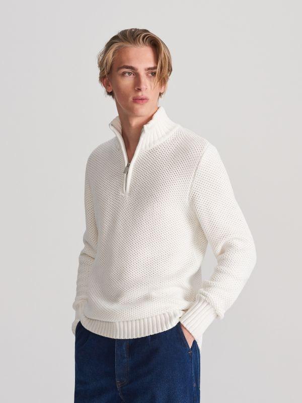 410aa796428f86 Bawełniany sweter · Sweter z rozpinaną stójką - kość słoniowa - WD188-01X -  RESERVED