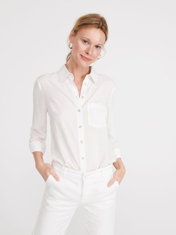 d21a95cdf2b771 Koszula z drobnym wzorem · Gładka koszula z wiskozy - biały - WS570-00X -  RESERVED