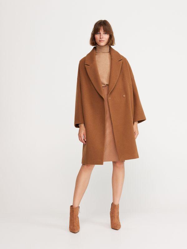 fe9a4740094e Пальто из материала с добавлением шерсти · Пальто женское - Коричневый -  WU632-82X - RESERVED