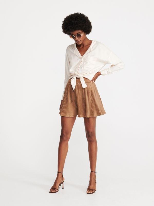 8f7e03817dfa5f Spódnica z imitacji skóry · Rozklosozwana spódnica mini - brązowy -  WW218-88X - RESERVED