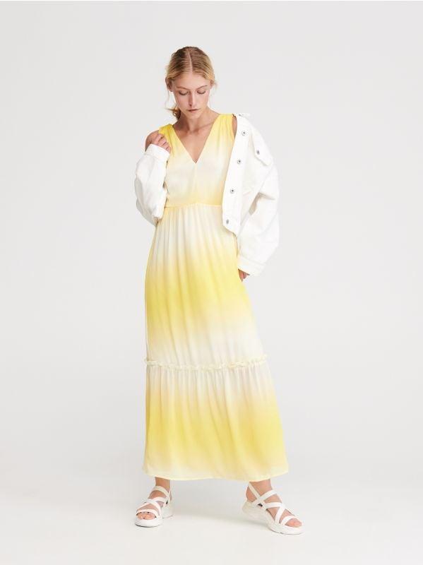 30b3b7e780670b Sukienka w kwiaty · Długa sukienka z dekoltem na plecach - żółty -  XA807-11X - RESERVED