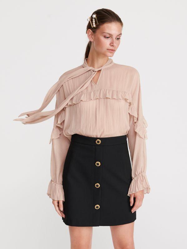 9034ddb562207e Dzianinowa spódnica · Spódnica z ozdobnymi guzikami - czarny - XR747-99X -  RESERVED